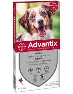 Advantix Spot On*soluz 4 Pipette 2,5 Ml Cani Da 10 A 25 Kg